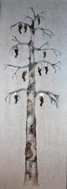 Hare birch, 2012, 400x120cm, collage drawing on linnen drape