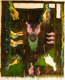 Mensch ärgere dich nicht, 2012, ca.200x150cm, collage and embroidery on tapestry