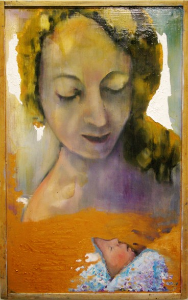 Mother, 2015, 75x55cm oil and varnish on wood