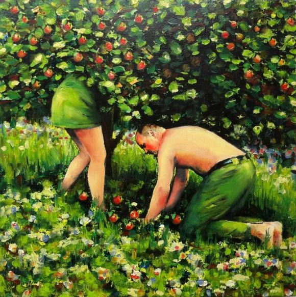 Paradise 1, 2013, 40x40cm, photo print and oil on multiplex