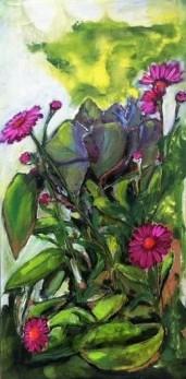 Flowers in green, 2014, 60x30cm, oil on multiplex