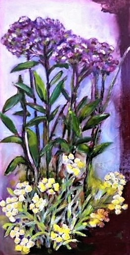 Flowers in purple, 2014, 60x30cm, oil on multiplex