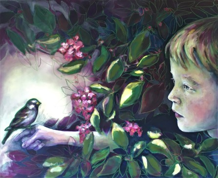 Boy and sparrow, 2020, 80x100 cm, oil and crayon on canvas
