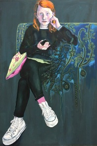 Girl on a couch 2021, 180x120 cm Primer, tempera, oil, oilbar and crayon on canvas